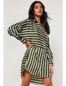 Green Oversized Stripe Print Dip Back Shirt Dress by Missguided
