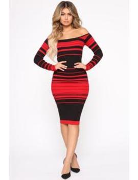 On Point Sweater Dress   Red/Black by Fashion Nova