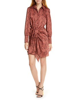 Gaby Python Print Long Sleeve Shirtdress by Cinq À Sept