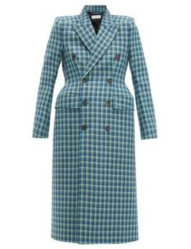 Hourglass Checked Double Breasted Wool Coat by Balenciaga