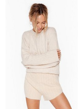 Fluffy Soft Cable Knit V Neck Sweater & Short Set by Nasty Gal