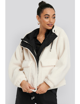 Shearling Hooded Jacket White by Na Kd Trend