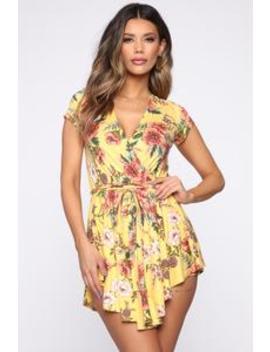 Fun In Floral Wrap Romper   Yellow/Combo by Fashion Nova