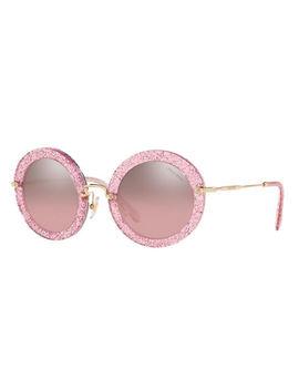 Mirrored Round Glitter Acetate Sunglasses by Miu Miu
