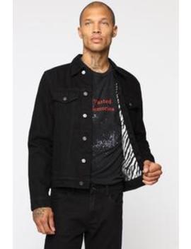Zebra Lined Denim Jacket   Black/Combo by Fashion Nova