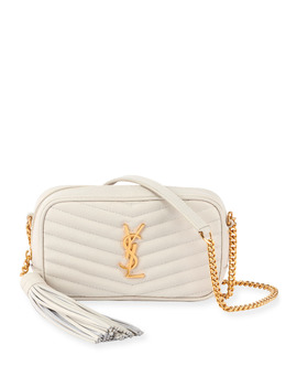 Lou Mini Grain De Poudre Camera Crossbody Bag In White by Saint Laurent