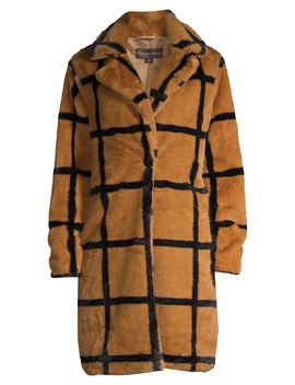 Forever Audrey Women's Plaid Single Button Faux Fur Coat by Forever Audrey