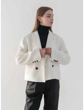 Premium Handmade Wool Crop Double Jacket In Ivory by Till I Die