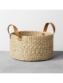 Seagrass Basket With Leather Handle   Medium   Hearth & Hand™ With Magnolia by Shop Collections