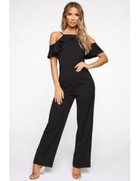 Sophia Ruffle Jumpsuit   Black by Fashion Nova
