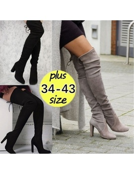 Plus Size:34 43 New Women's Over Knee High Boot Lace Up Stretch Slim Thigh High Heel Long Thigh Boots Shoes by Wish