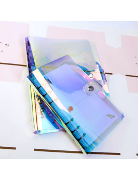 A5 A6 A7 Pvc Rainbow Laser Transparent Notebook Diary Cover Glitter Loose Leaf Note Book Planner Clip Office Supplies by Ali Express.Com