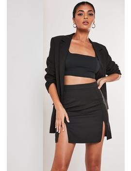 Petite Black Co Ord Double Split Mini Skirt by Missguided