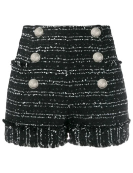 Frayed Tweed Shorts by Balmain