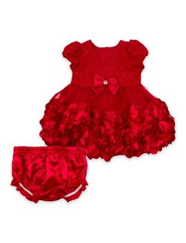 Nanette Baby® Size 0 3 M Rosette Dress With Diaper Cover In Red by Nannette Baby