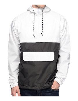 Zine Unlimited White &Amp; Black Anorak Windbreaker Jacket by Zine