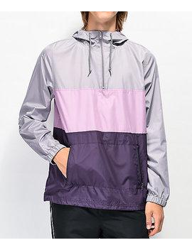 Zine Barry Grey &Amp; Purple Colorblock Windbreaker Jacket by Zine