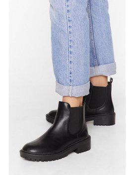 Faux Leather Cleated Sole Chelsea Boots by Nasty Gal