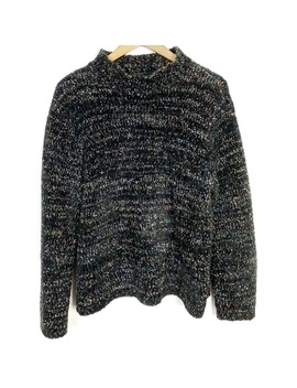 Black Mockneck Sweater With Colorful Metallic Knit by Vintage