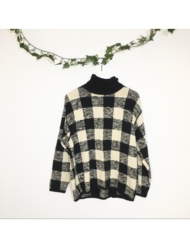 Et Vous Plaid Turtleneck Sweater by Vintage