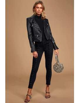 Blondie Tie Up Black Lace Up Skinny Jeans by Neon Blonde