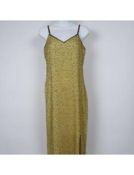 Scala Gold Beaded Pm High Slit Silk Evening Dress by Scala