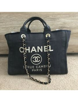 100% Authentic Chanel Deauvile Tote Bag Navy Blue Denim Gold Hardware by Ebay Seller