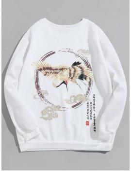 Popular Flying Crane Letter Graphic Print Fleece Sweatshirt   White Xl by Zaful