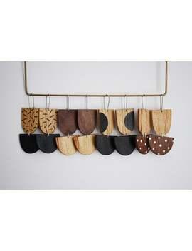 Dangle Earrings, Drop Earrings, Statement Earrings, Big Earrings, Wooden Earrings, Reclaimed Wood, Hand Painted, Surgical Steel, Earrings by Etsy