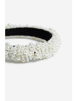 **Mega Cream Pearl Alice Band by Topshop