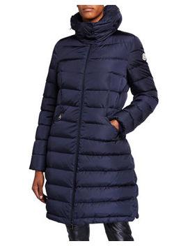 Moncler Flammette Puffer Coat W/ Packable Hood by Moncler