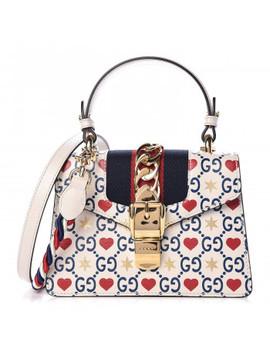 Gucci Calfskin Heart Star Print Mini Sylvie Bag Ivory by Gucci