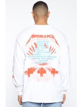 Metallica Long Sleeve Tee   White/Combo by Fashion Nova