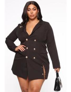 Away On Business Blazer Dress   Black by Fashion Nova