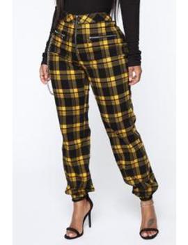 Plaid You Good Jogger Pant   Yellow/Combo by Fashion Nova
