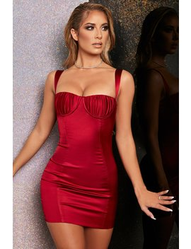 Midnight Romance Bodycon Satin Mini Dress In Dark Red by Oh Polly
