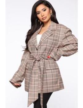 Blank Check Plaid Blazer   Taupe/Combo by Fashion Nova