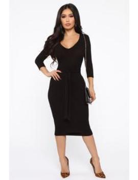 In The Long Run Midi Dress   Black by Fashion Nova