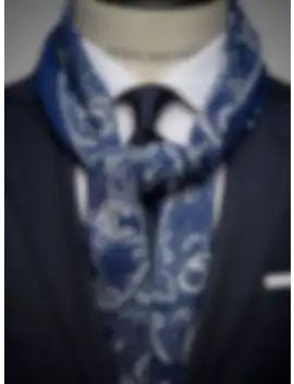 Navy Blue & White Wool Scarf by John Henric