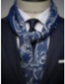Navy Blue & White Wool Scarf by John Henric