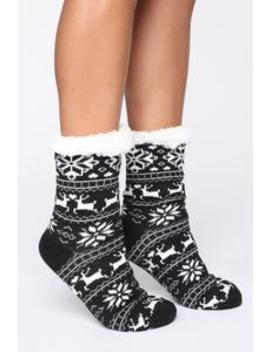Be My Reindeer Socks   Black by Fashion Nova
