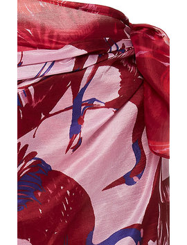 Contrast Print Silk Pareo by Figue
