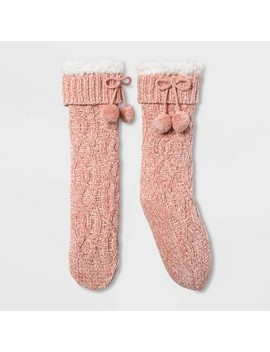 Women's Chenille Sherpa Lined Slipper Socks With Grippers   One Size by Target