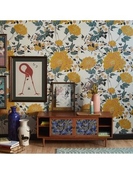 Yellow Vintage Floral Peel And Stick Wallpaper By Drew Barrymore Flower Home by Drew Barrymore Flower Home