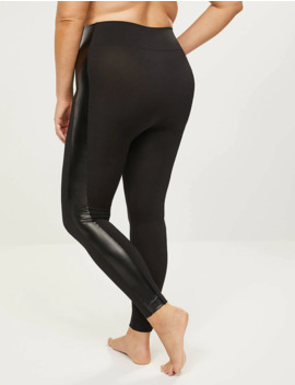 Faux Leather Stripe Legging by Lane Bryant