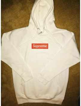 Supreme Hoodie Red Box Embroidered Logo Black Or White by Cotton Heritage