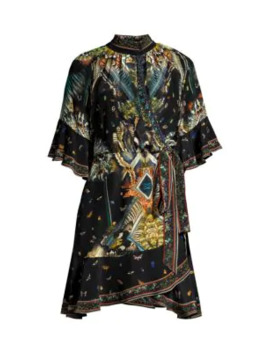 Mixed Print Silk Wrap Dress by Camilla