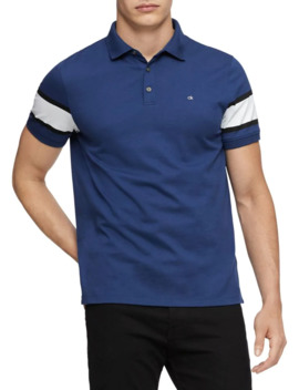 Regular Fit Blocked Cotton Polo by Calvin Klein