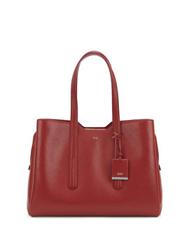Zipped Tote Bag In Grained Italian Leather Zipped Tote Bag In Grained Italian Leather by Boss