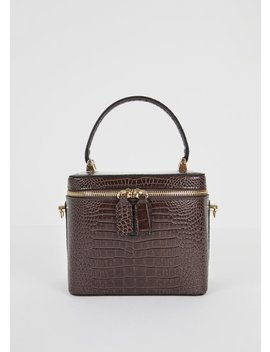 Brown Croc Box Bag by The Frankie Shop